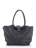 Dark Grey Leather Shoulder Bag