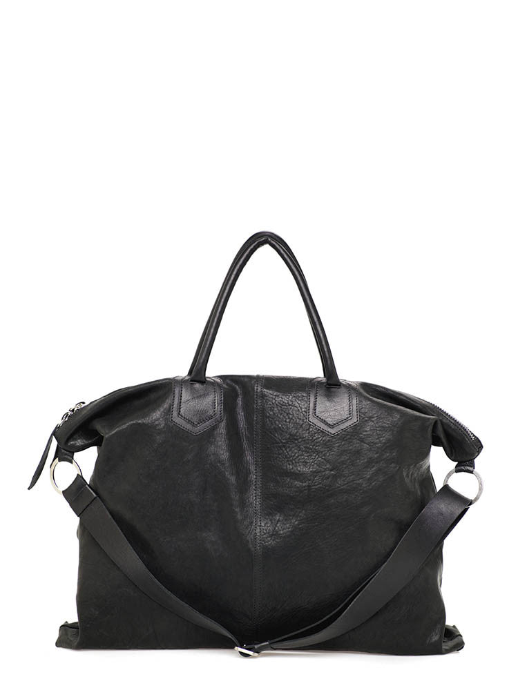 Oversized Black Leather Travel Crossbody Shoulder Bag