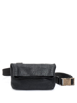 Textured Black Leather Mini Pouch Bag
