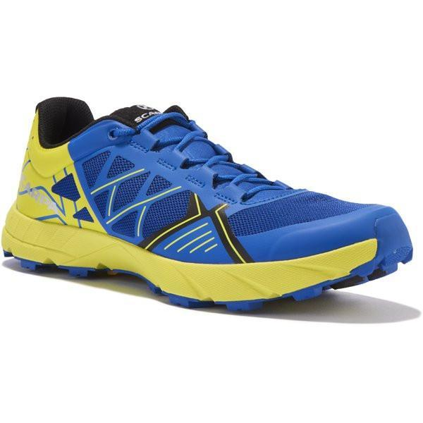 Scarpa Spin trail running shoe, outer side view in blue and yellow colours