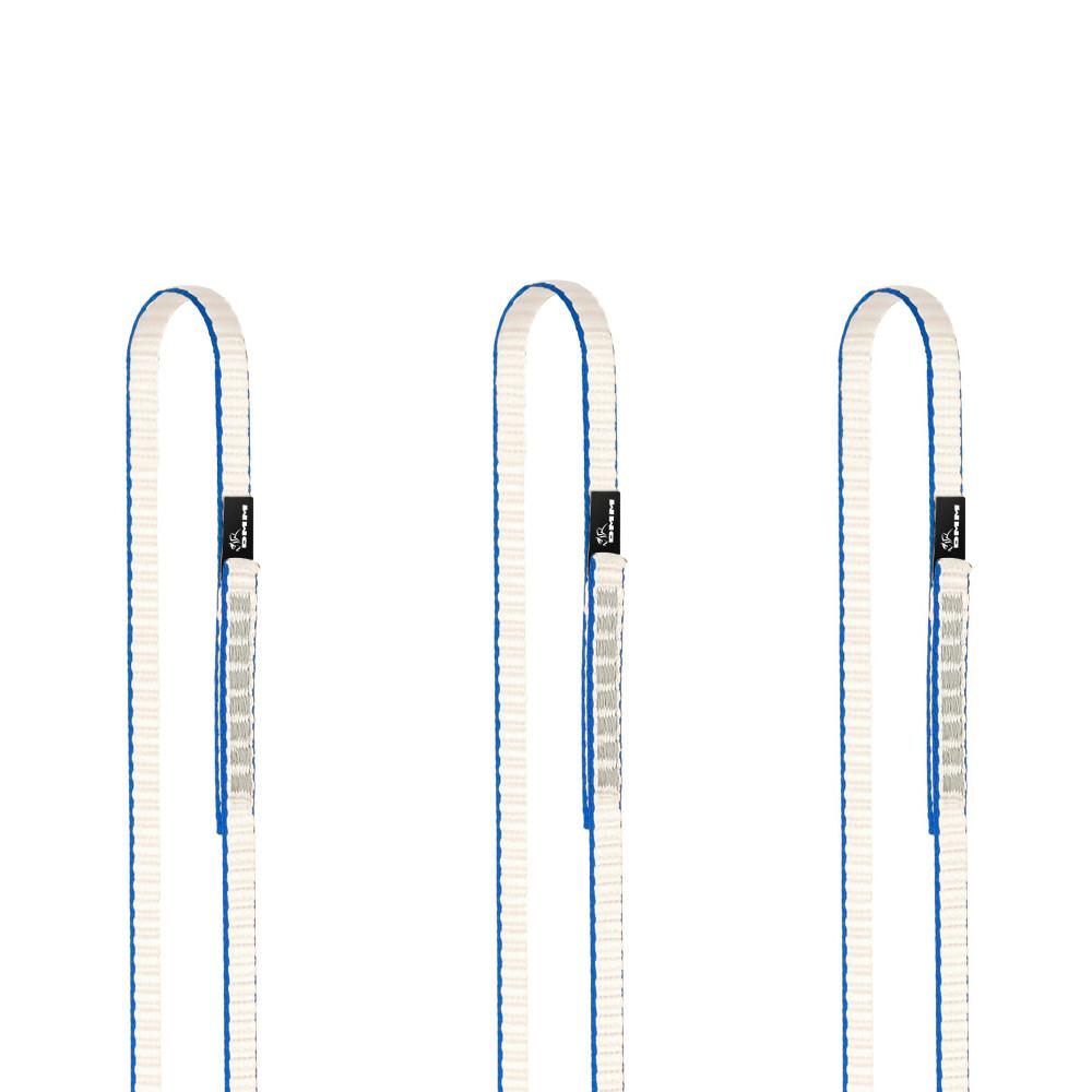 DMM Dyneema climbing Sling 11mm x 60cm 3 pack, shown side by side in blue/white colour