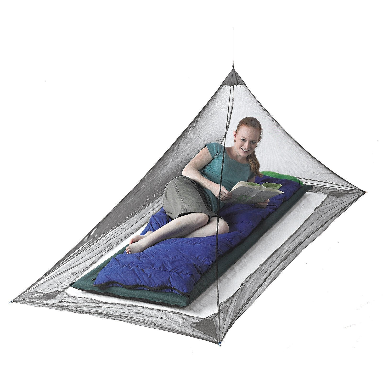 Sea to Summit Nano Mosquito Pyramid Net Single, showing lady inside on a single mattress