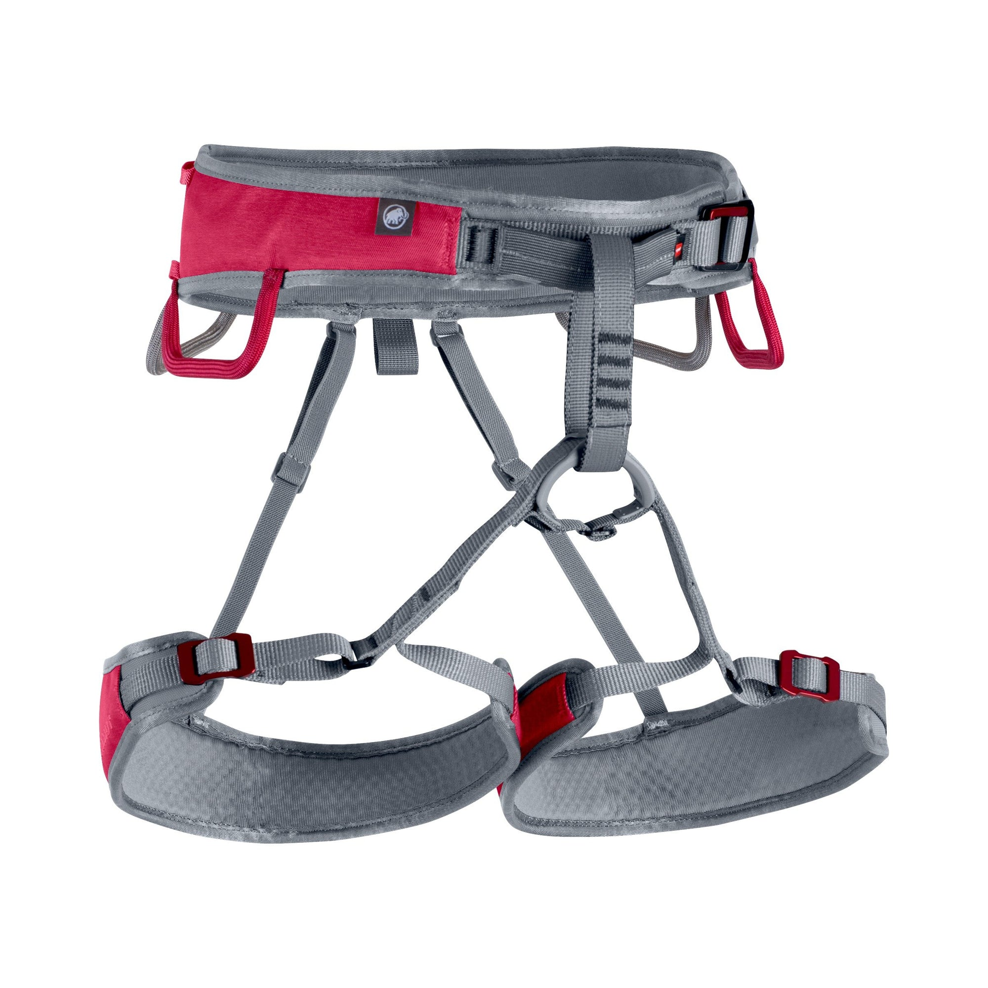 Mammut Ophir Fast Adjust Womens climbign harness, front/side view in grey and red colours