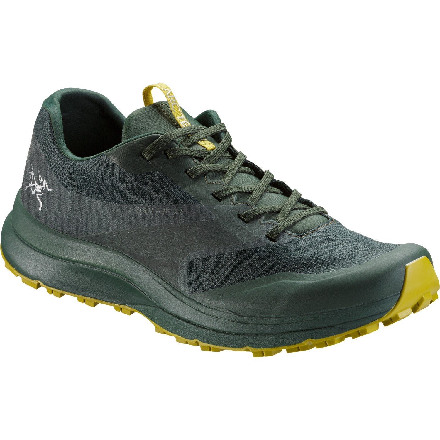 ArcTeryx Norvan LD GTX trail running shoe, in green colours, outer side view