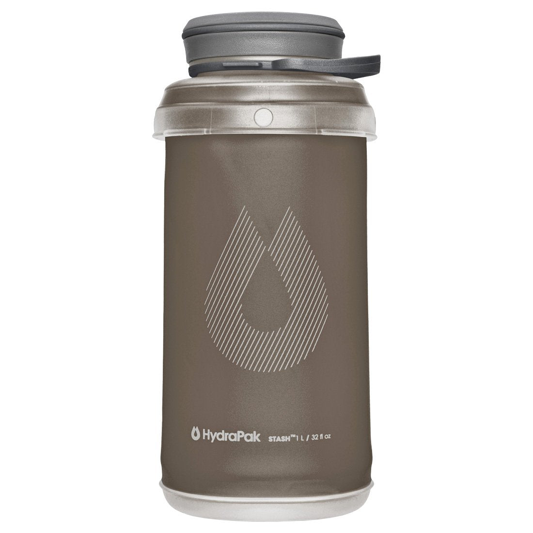 Hydrapak Stash 1 Litre bottle, in grey colour with grey lid
