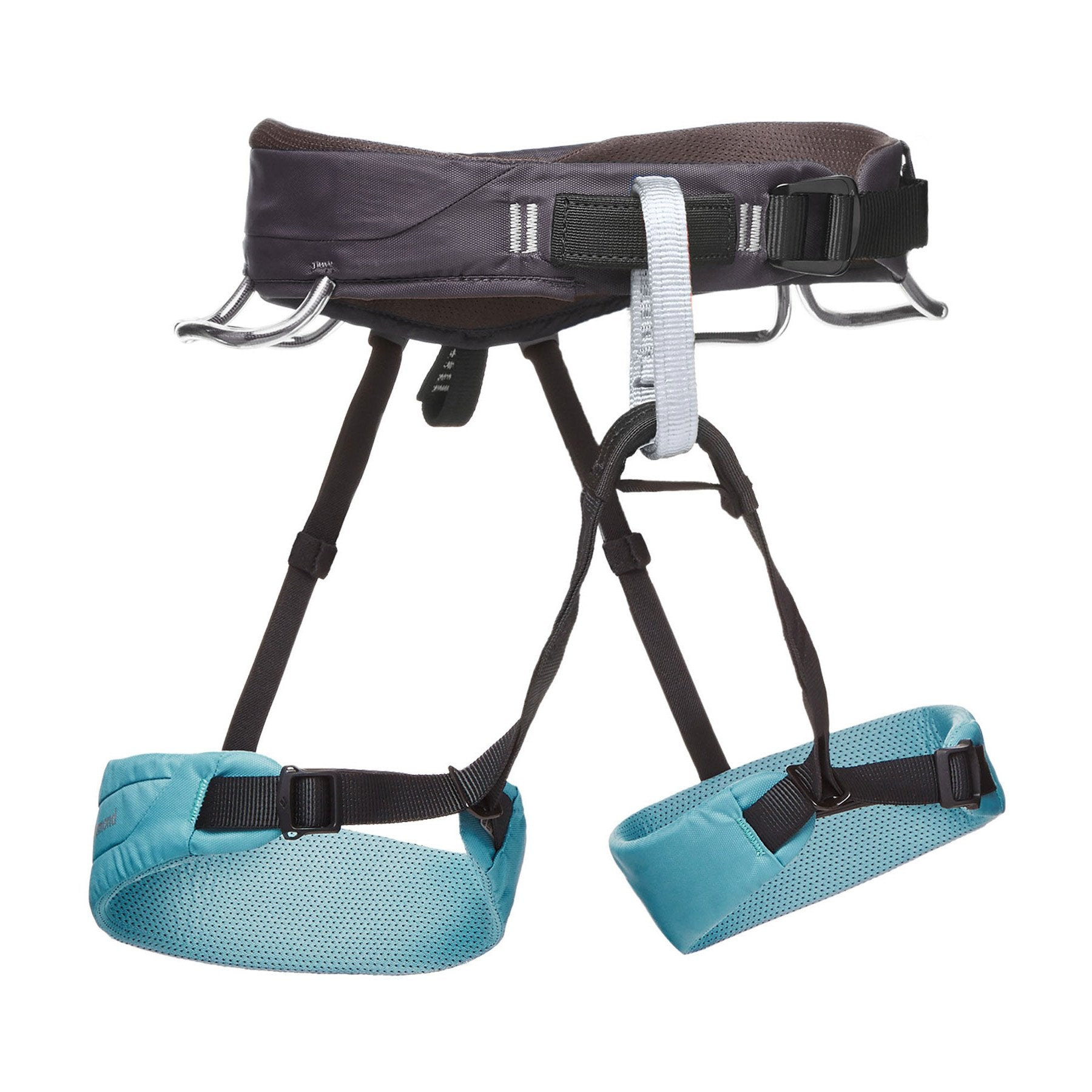 Black Diamond Momentum Womens climbing harness, front/side view in black and blue colours