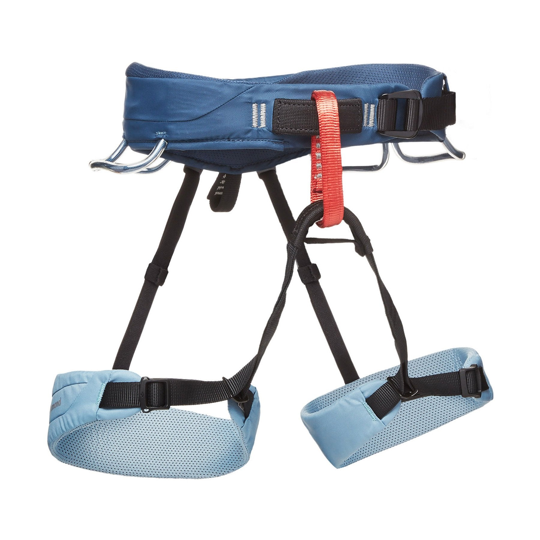 Black Diamond Momentum Womens climbing harness, front/side view in blue, black and red colours