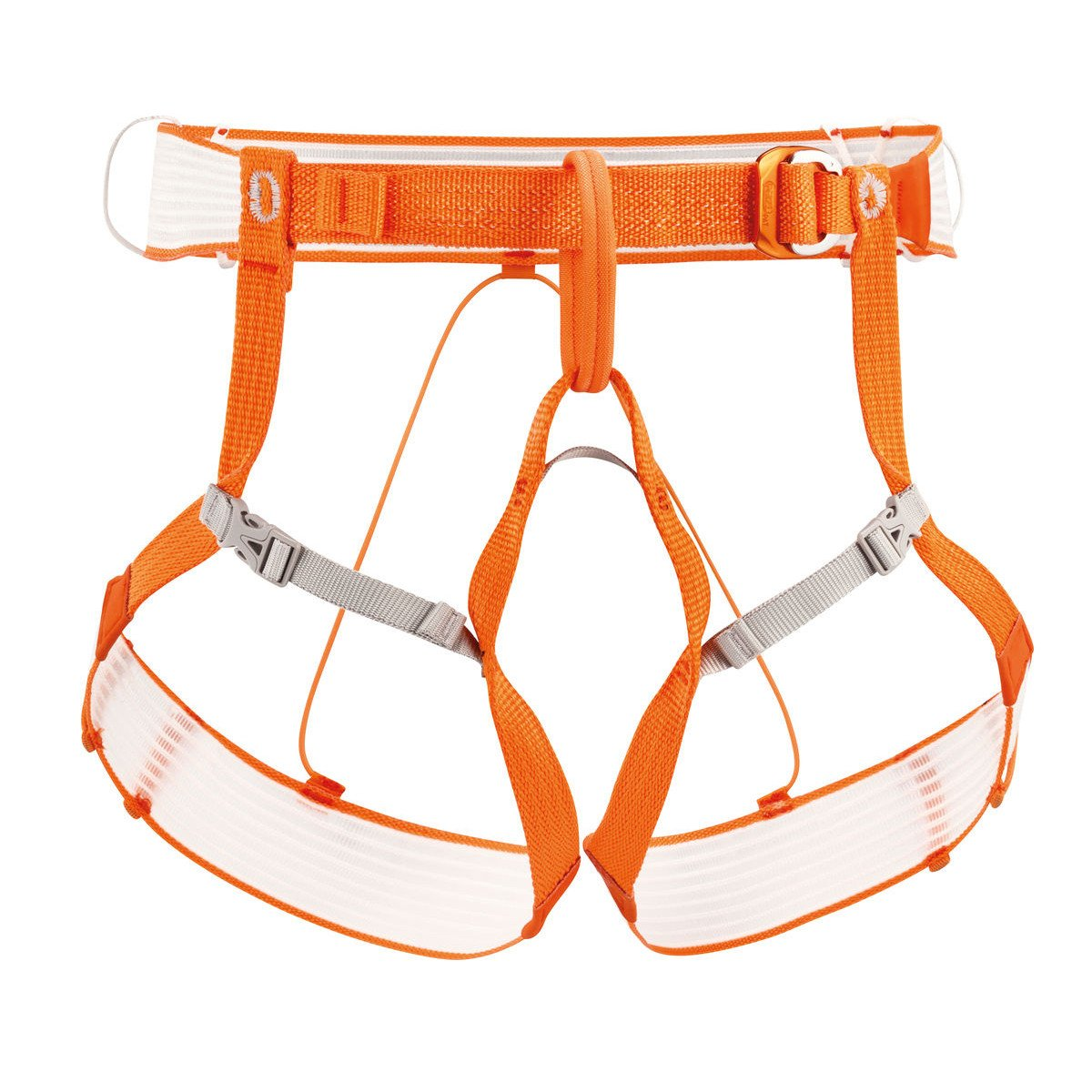 Petzl Altitude Harness, front view in Orange and grey colours