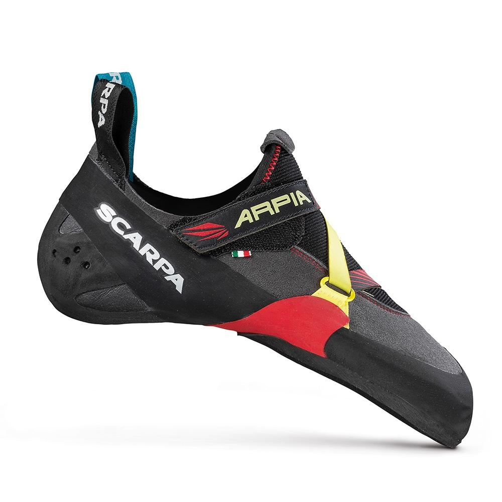 Outside view of the Scarpa Arpia climbing shoe, in black, red and yellow colours