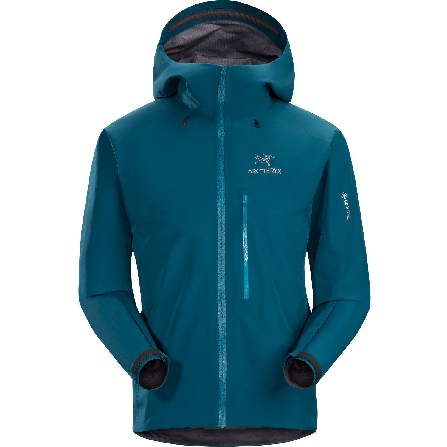 Arc'Teryx Alpha FL Jacket, front view shown fully zipped up, in Blue colour
