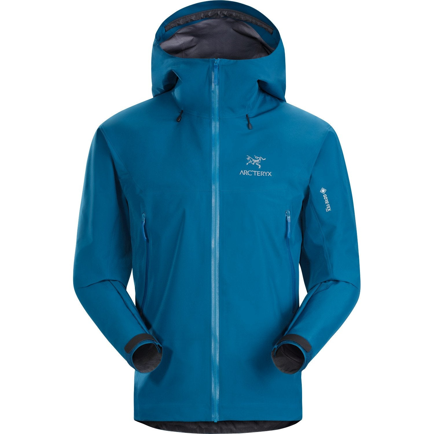 ArcTeryx Beta LT Jacket in Blue colour, showing hood design and Arc'Teryx Logo