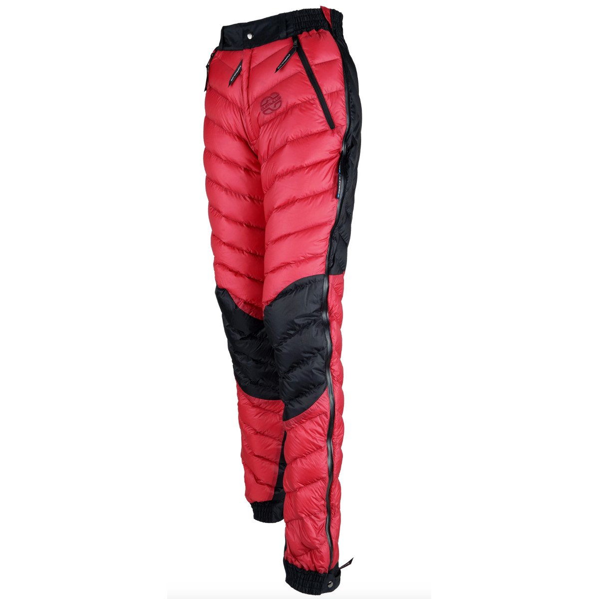 Cumulus Transition Down Pants Womens, front/side view in Red colour