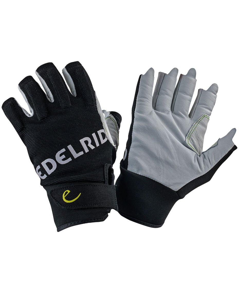 Edelrid Work Glove Open, fingerless belay gloves shown on both hands in black and white colours