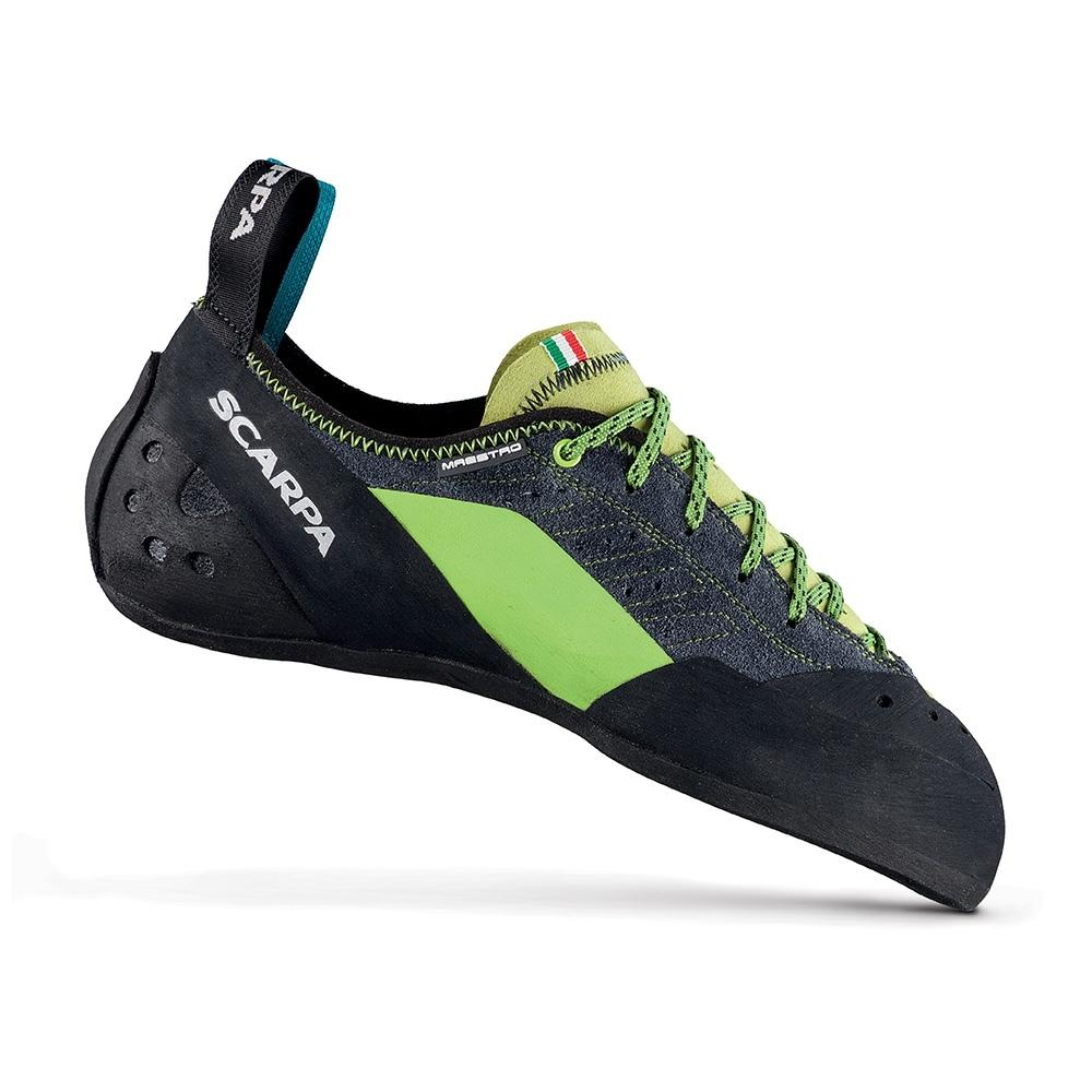 Scarpa Maestro climbing shoe, in black, green and grey colours