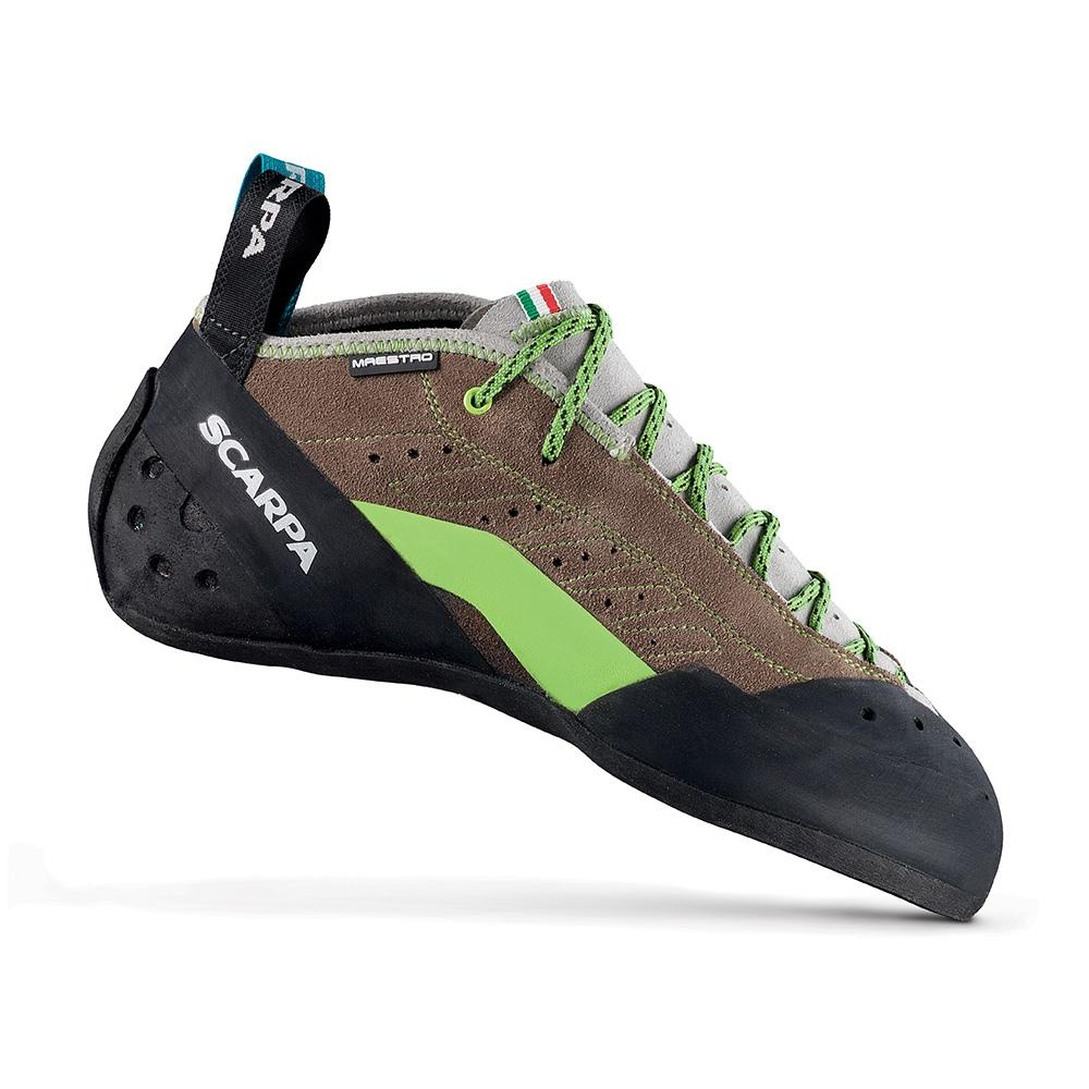 Scarpa Maestro Mid climbing shoe, in black, brown and green colours
