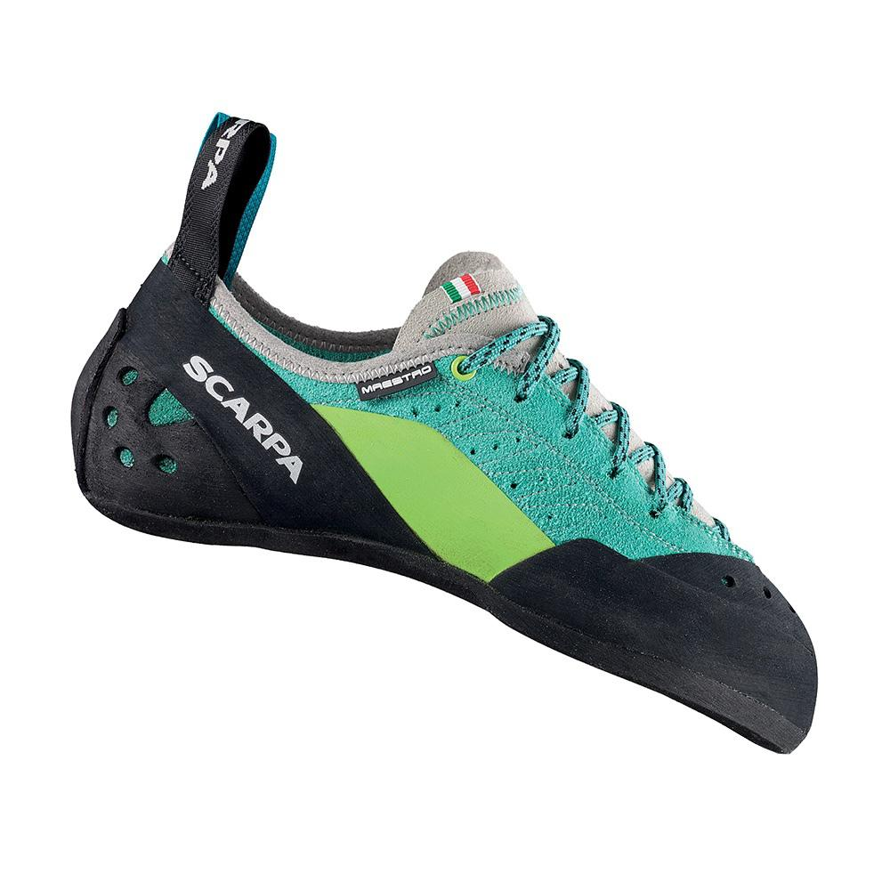 Scarpa Maestro Womens climbing shoe, in black, green and blue colours
