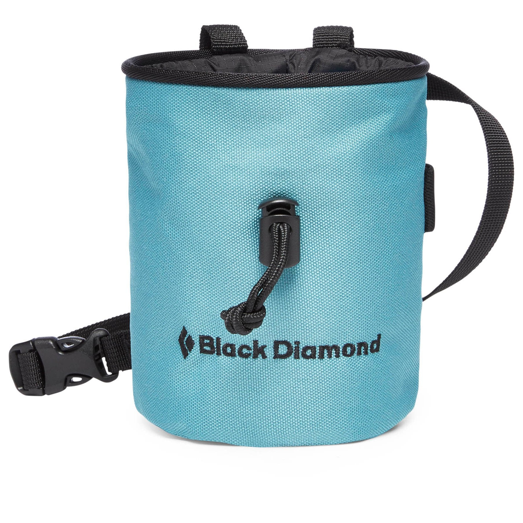 Black Diamond Mojo Chalk Bag, front view in light blue colour