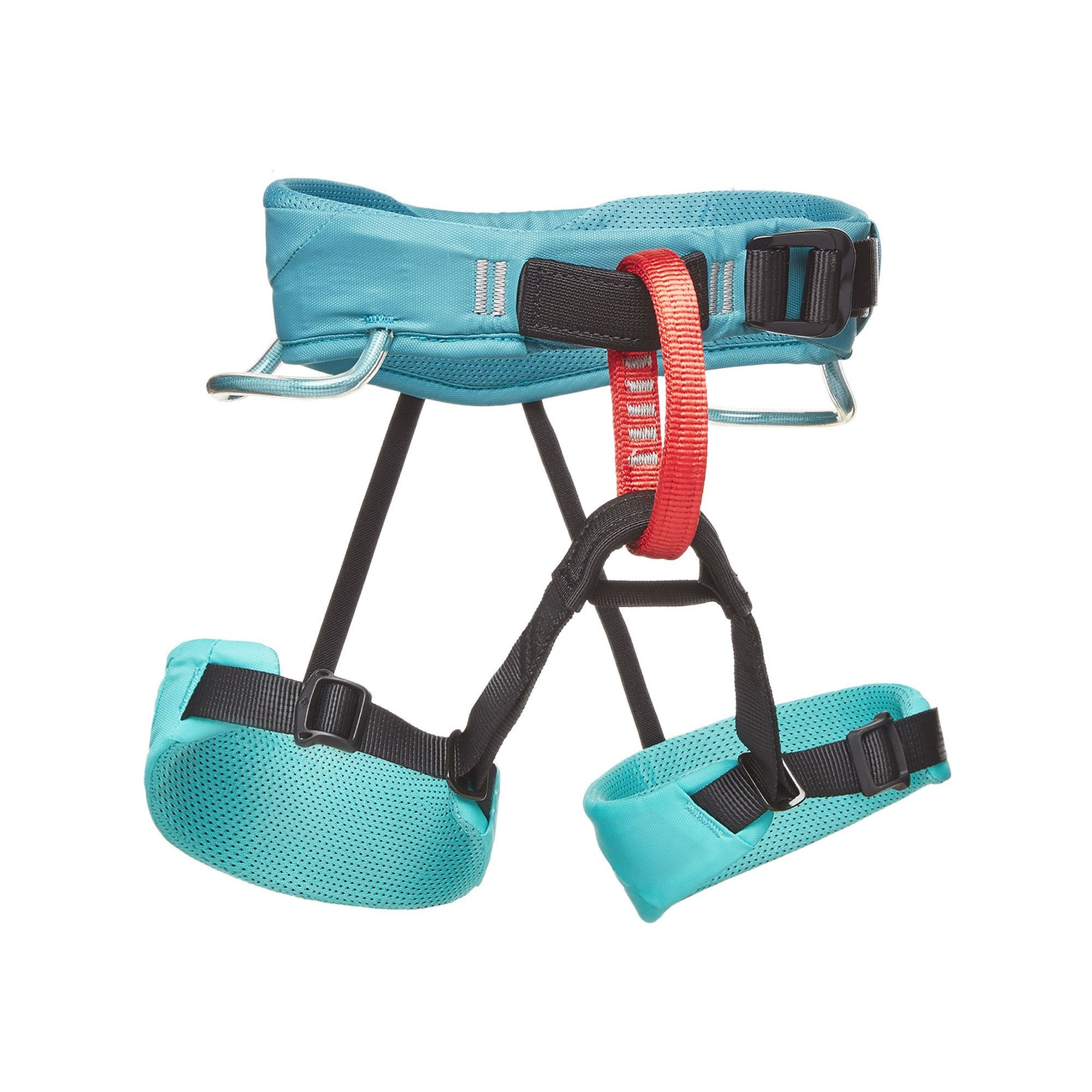 Black Diamond Momentum Kids Harness in aqua blue, black and red colours