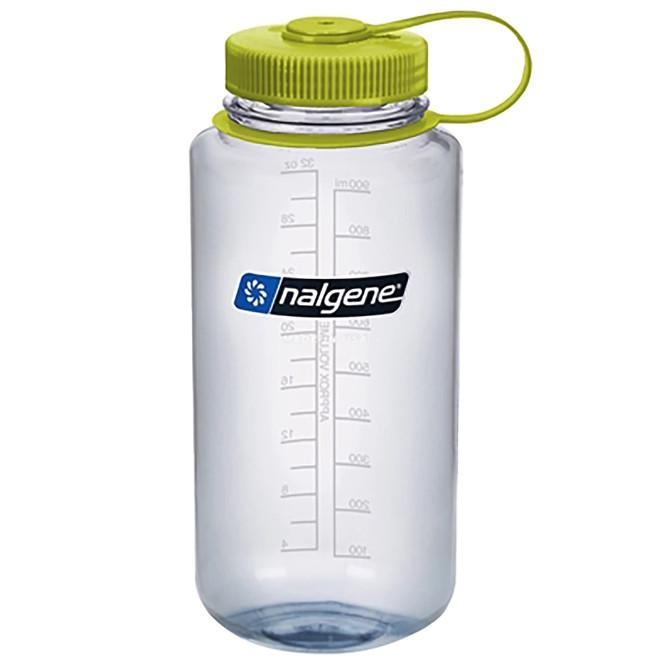Nalgene Tritan Wide Mouth 1 Litre Bottle, with a clear bottle and green lid