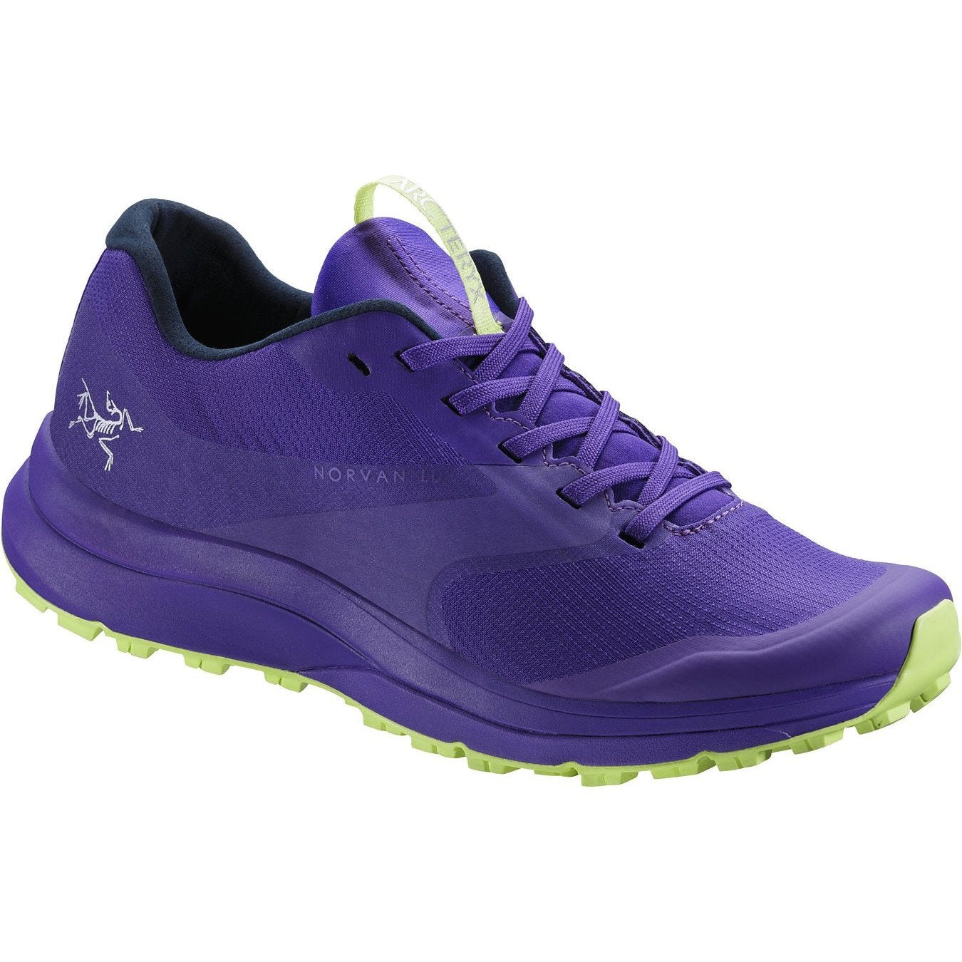 ArcTeryx Norvan LD GTX Womens trail running shoe, in purple colour, outer side view