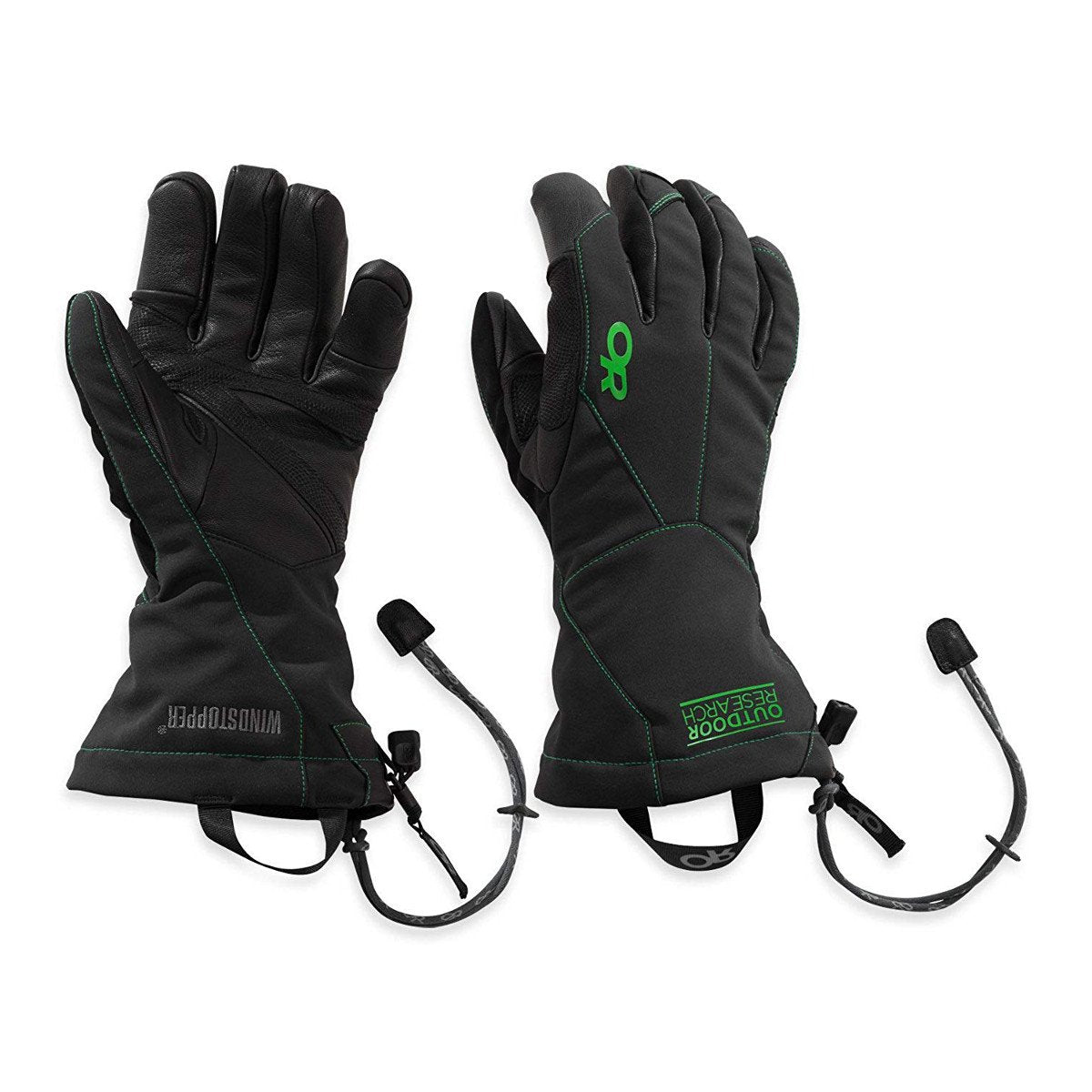 Pair of Outdoor Research Luminary Sensor Gloves in black, showing front and rear