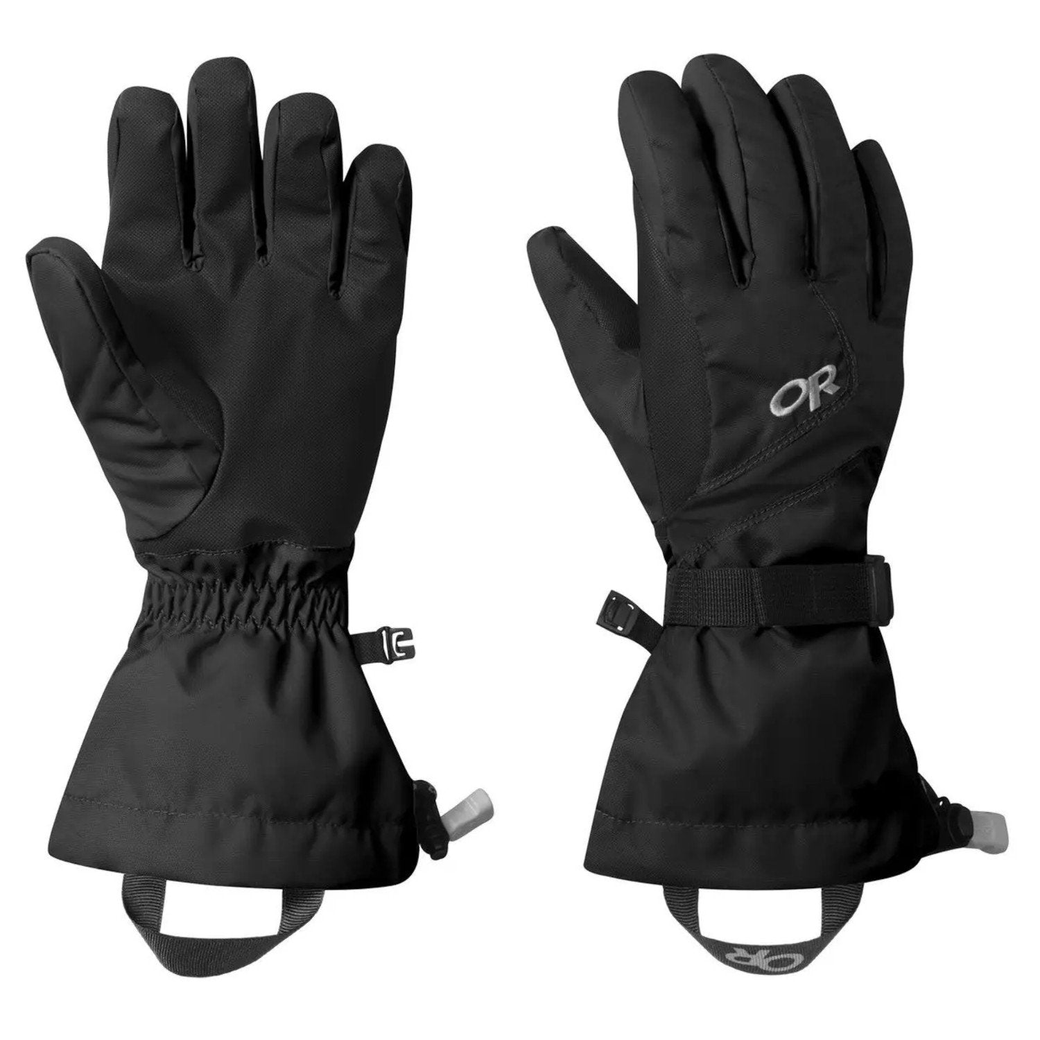 Pair of Outdoor Research Adrenaline Gloves Womens, one showing front view one showing reverse view
