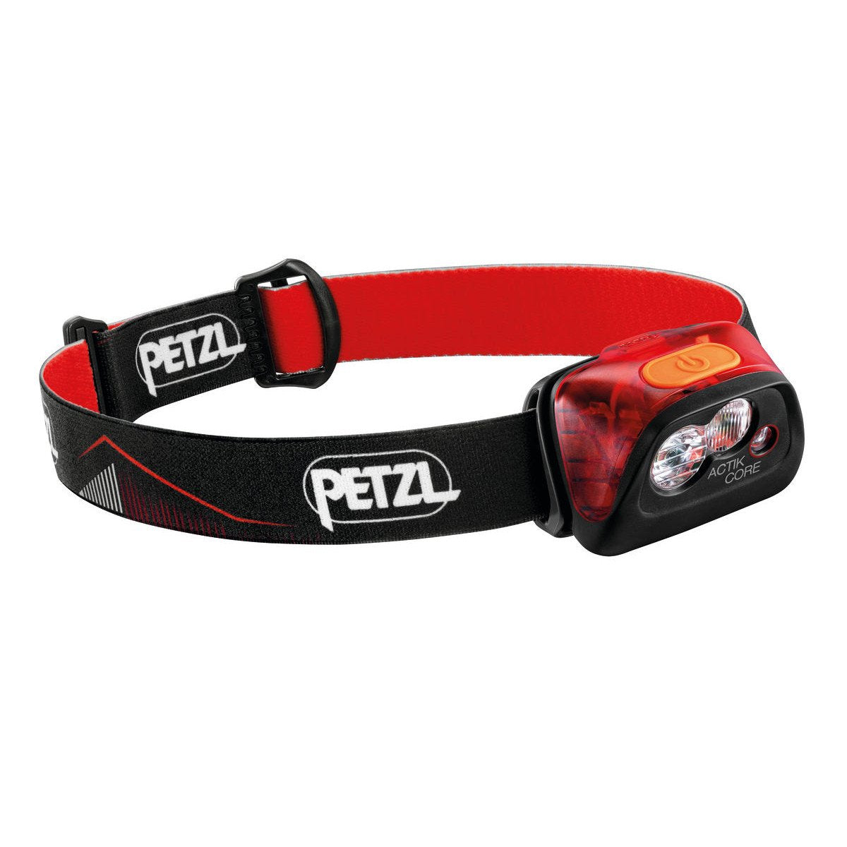 Petzl Actik Core Headtorch in Red showing strap and front of torch