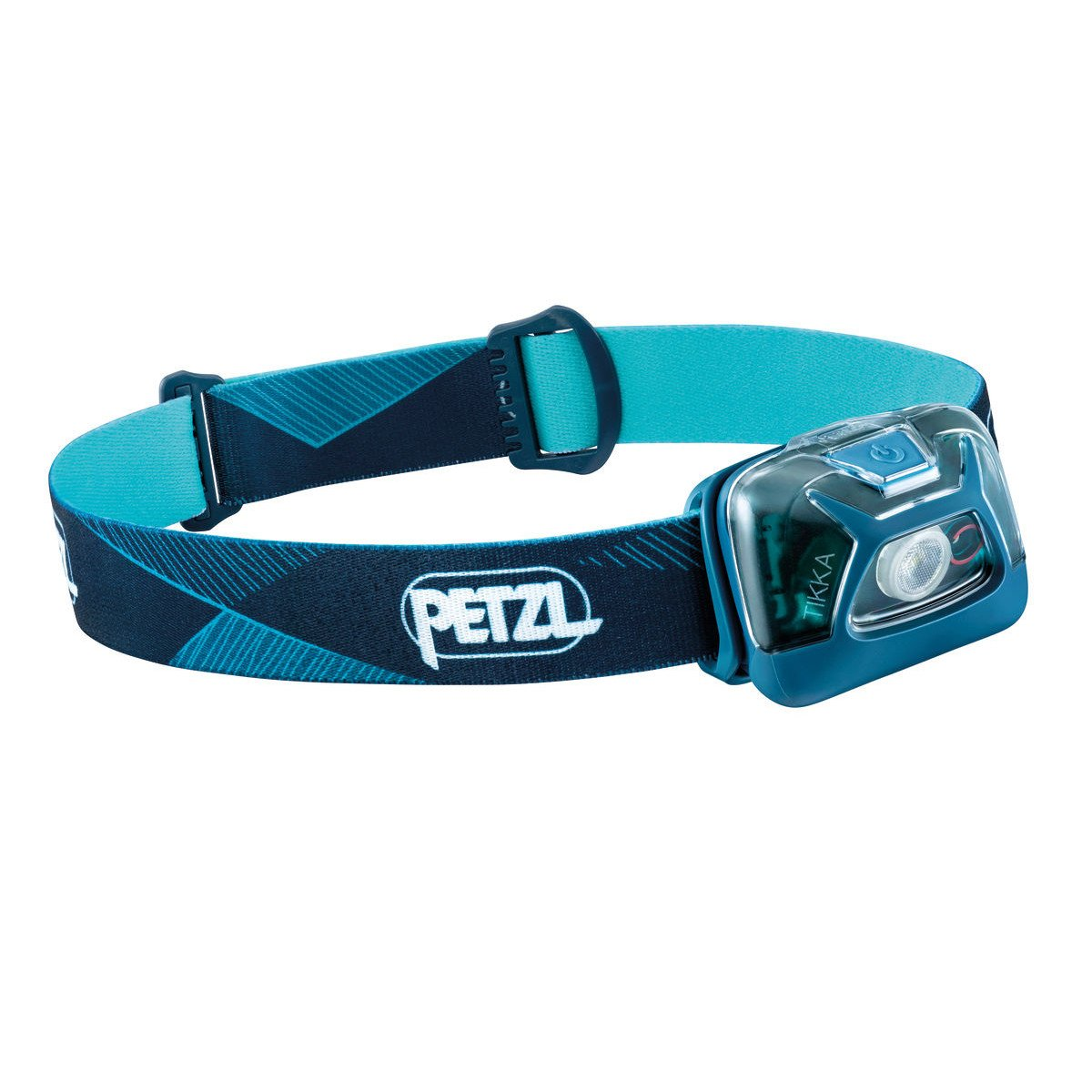 Petzl Tikka Head torch, front/side view in Blue colours