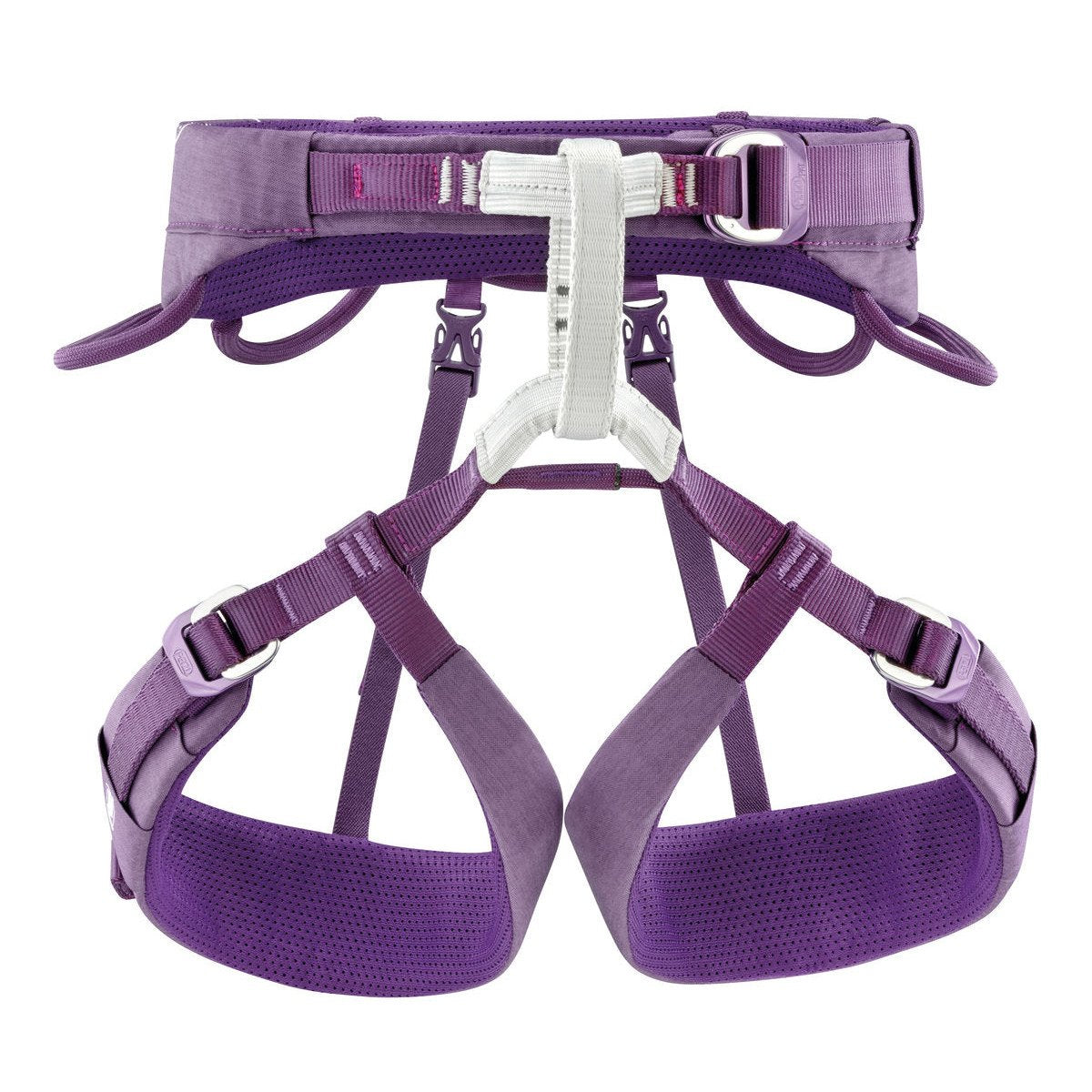 Petzl Luna womens climbing Harness, front view, in purple colour