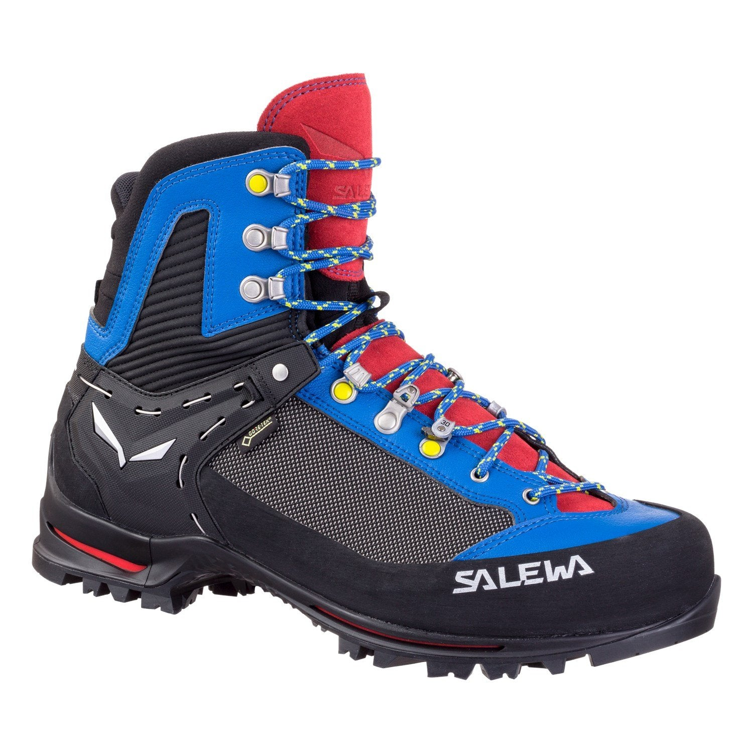 Salewa Raven 2 GTX Mountaineering Boot, outer/side view in black, blue and red colours