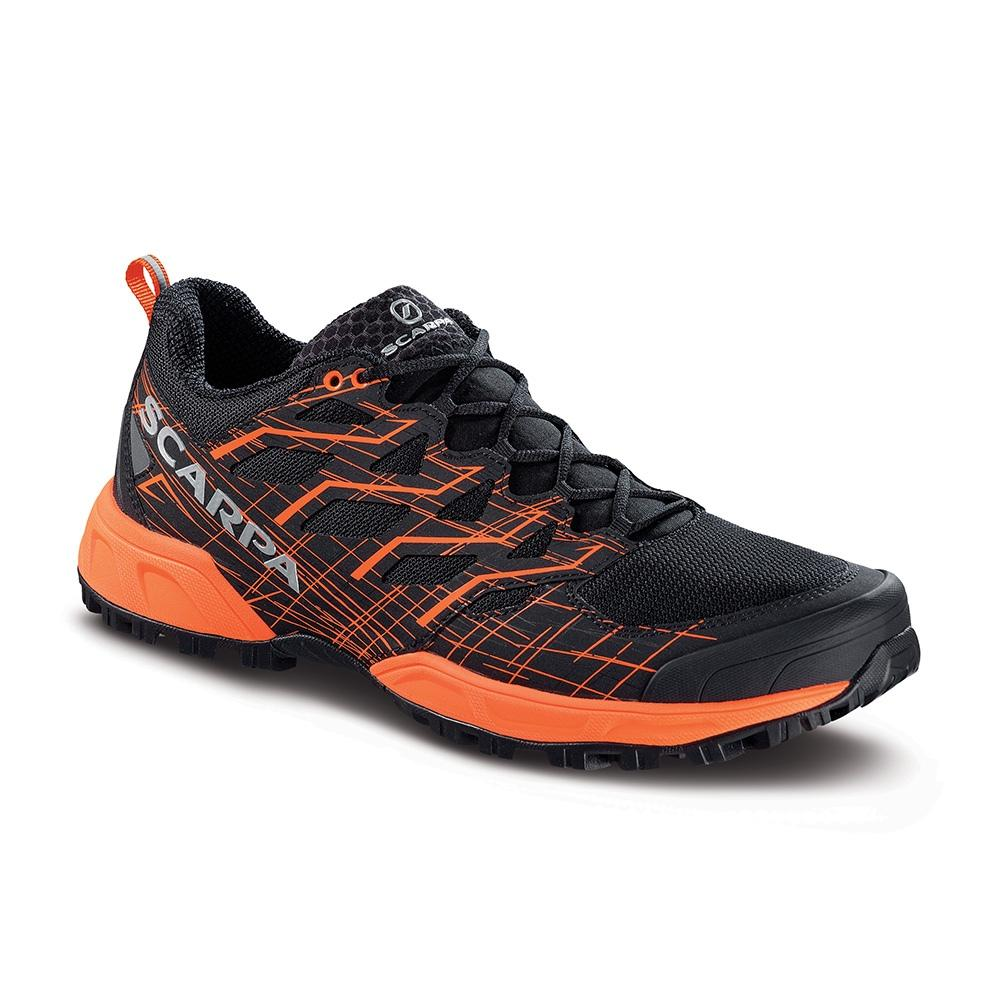 Scarpa Neutron 2 running shoe, outer side view in black and orange colours