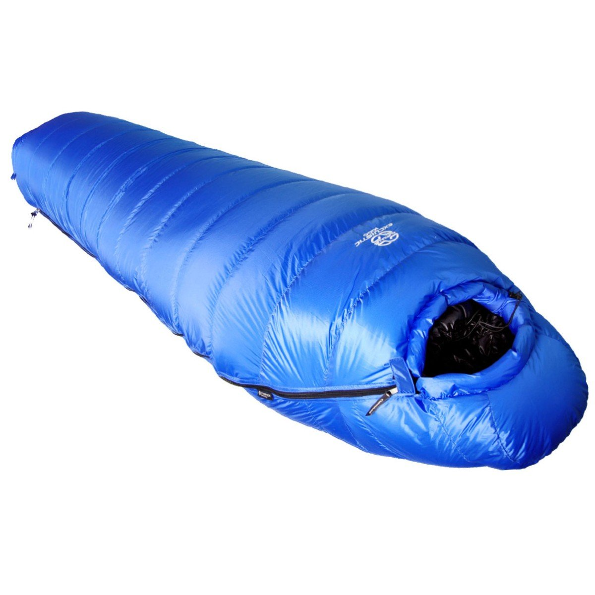 Cumulus Excuistic 1400 sleeping bag, shown fully closed and laid flat, in blue colour