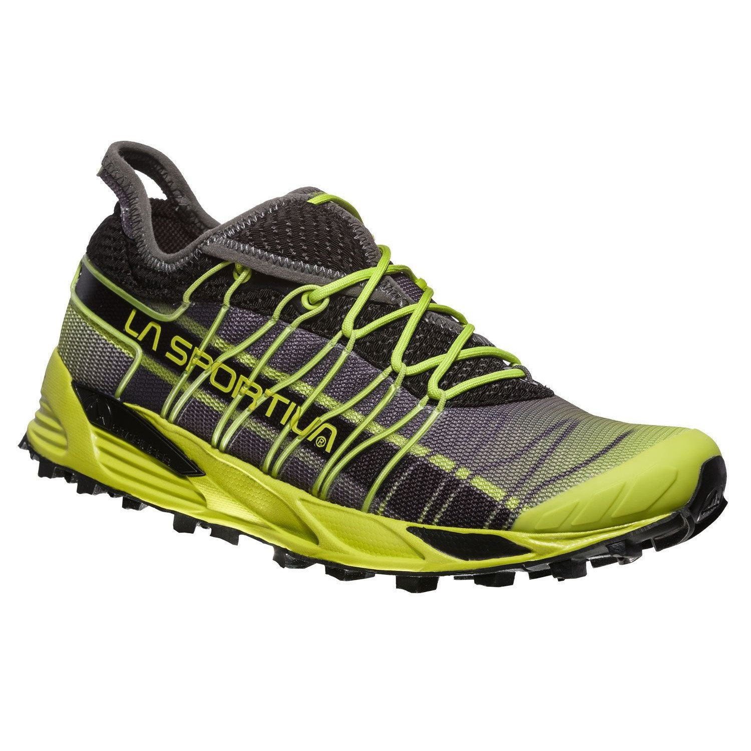 La Sportiva Mutant trail running shoe, outer side view in green/black colours