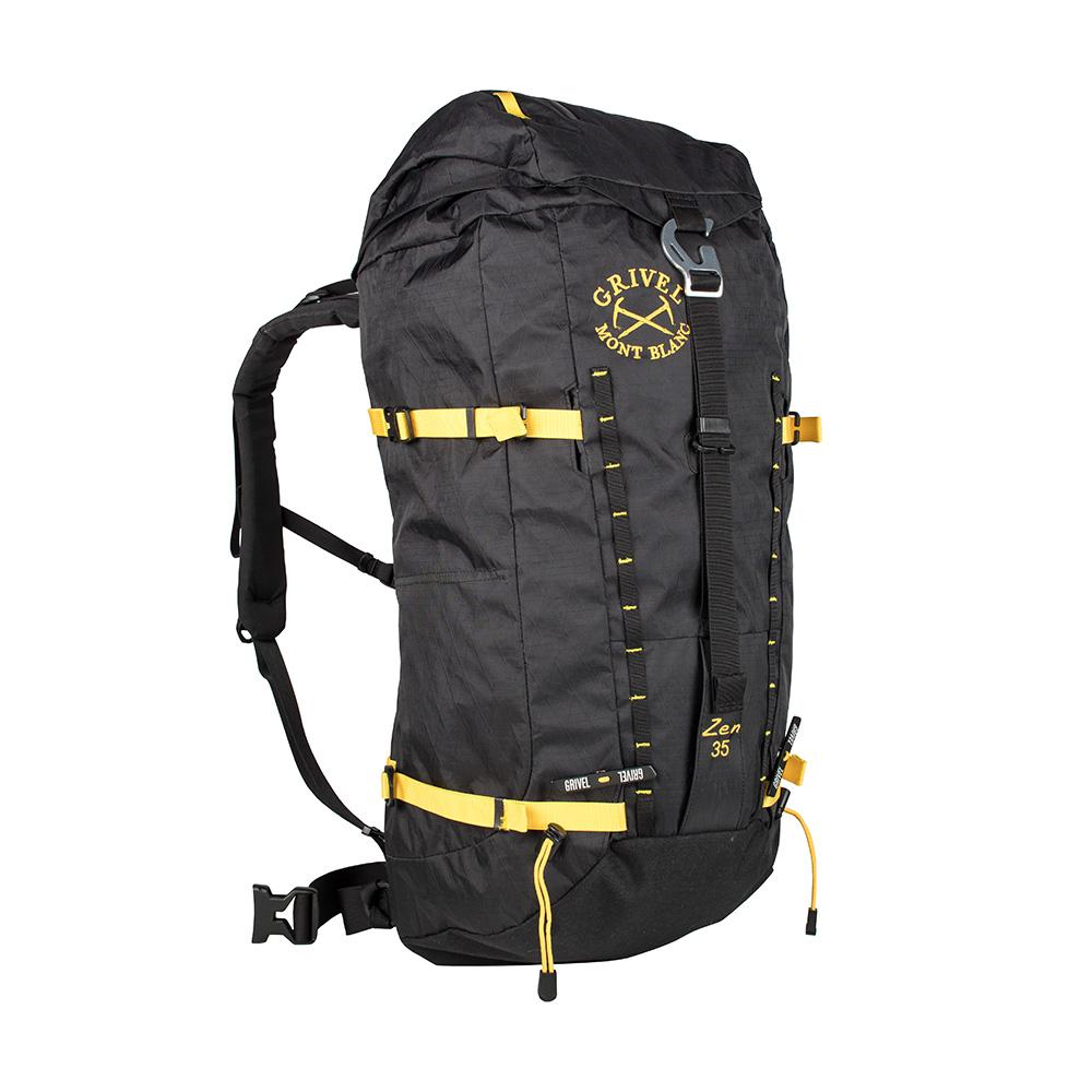 Grivel Zen 35L Rucksack, Front/side View Showing Buckles and Zips in black/yellow colours