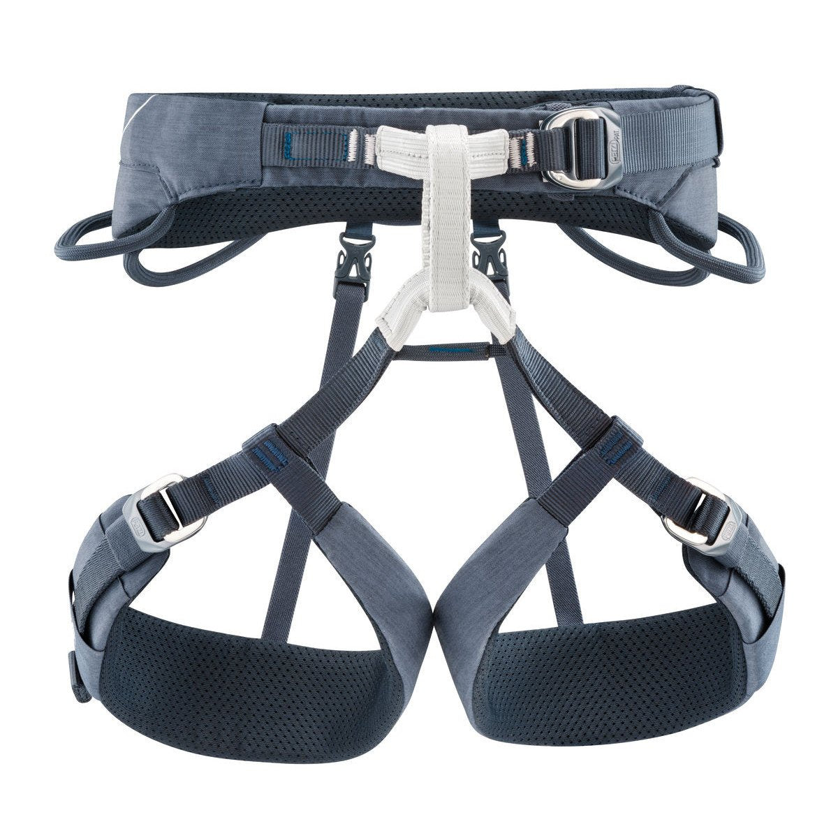 Petzl Adjama climbing Harness, front view in black and white colours
