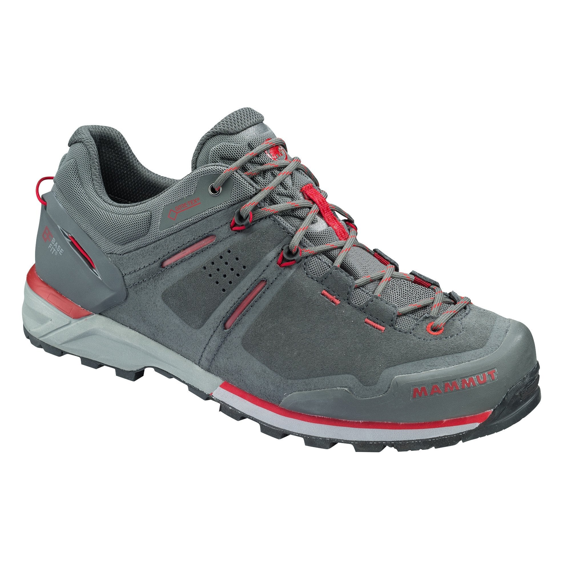 Mammut Alnasca Low GTX approach shoe, in grey and red colours, outer side view