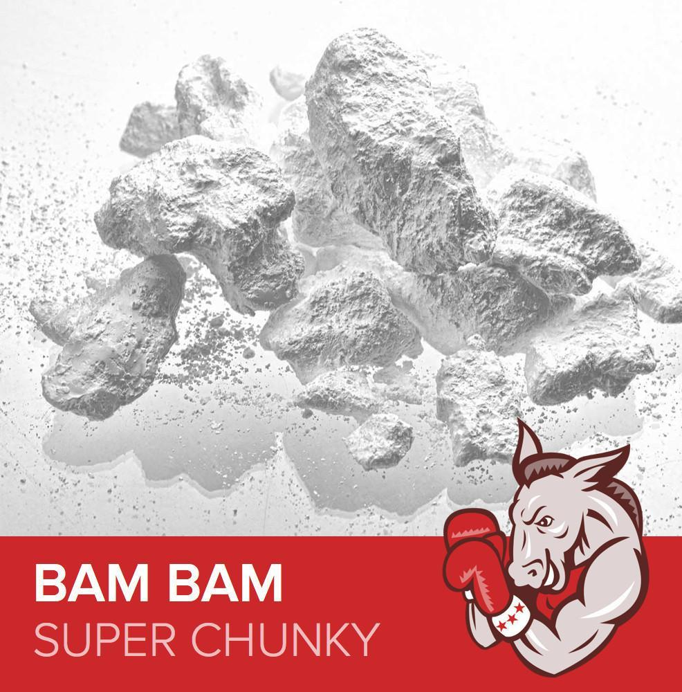 FrictionLabs Bam Bam climbing chalk, showing chalk and logo