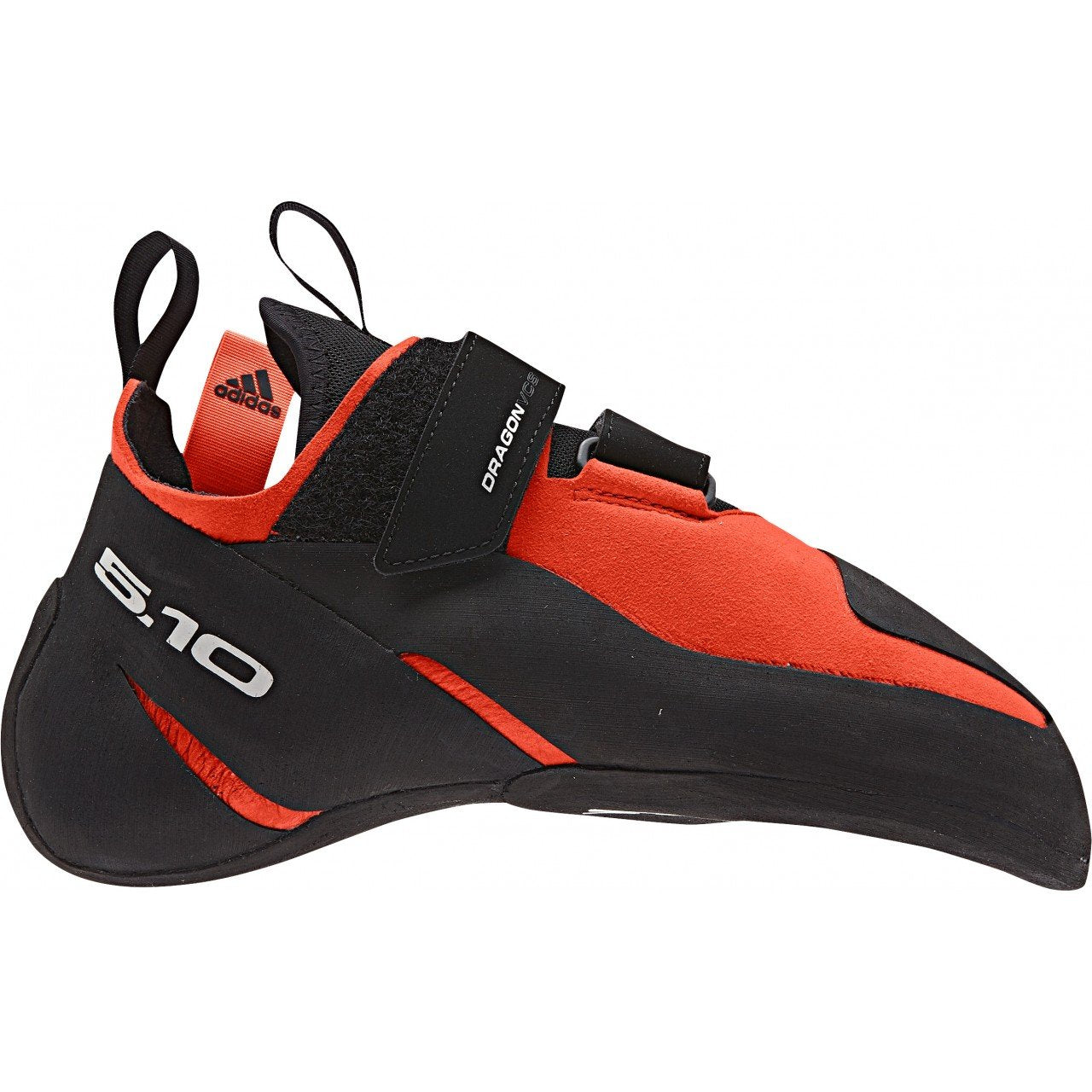 Five Ten Dragon VCS climbing shoe, outer side view in red and black colour