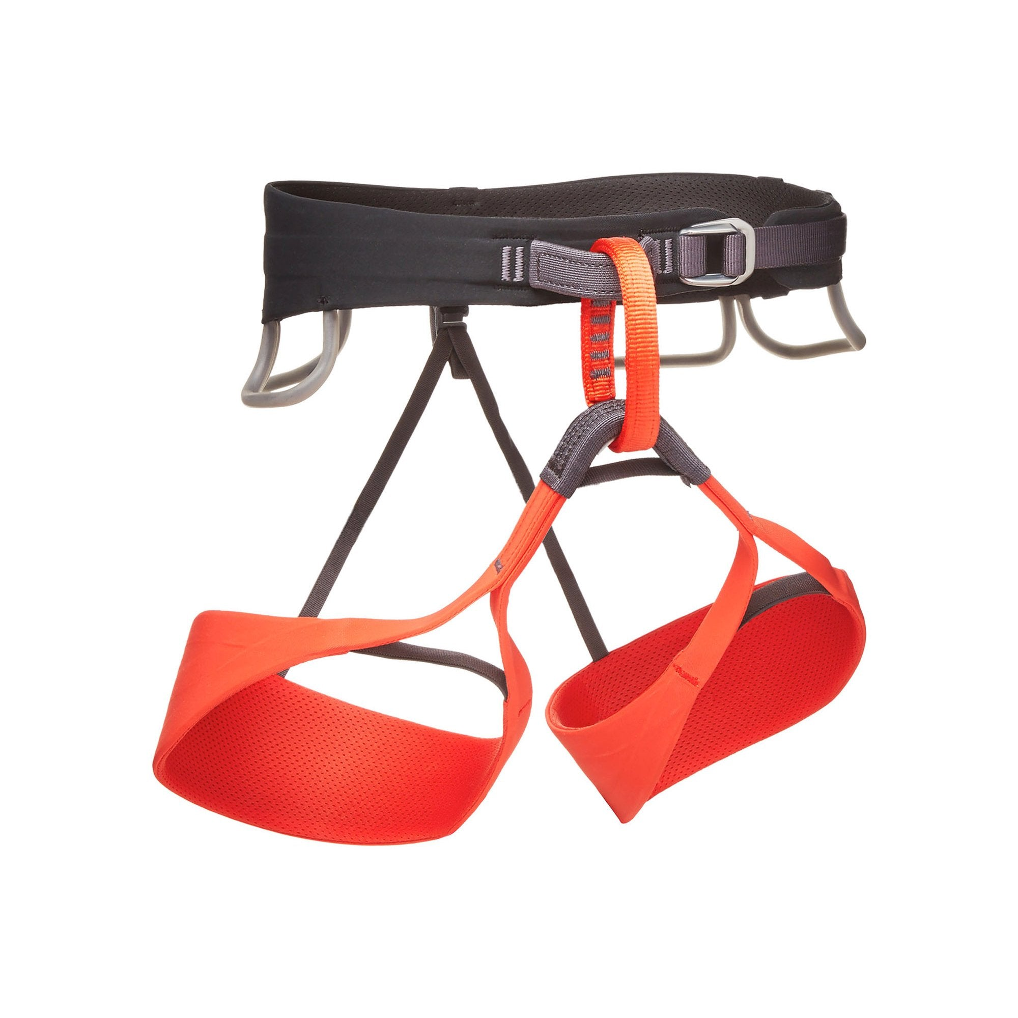 Black Diamond Solution Womens climbing harness, front view shown in black and red colours