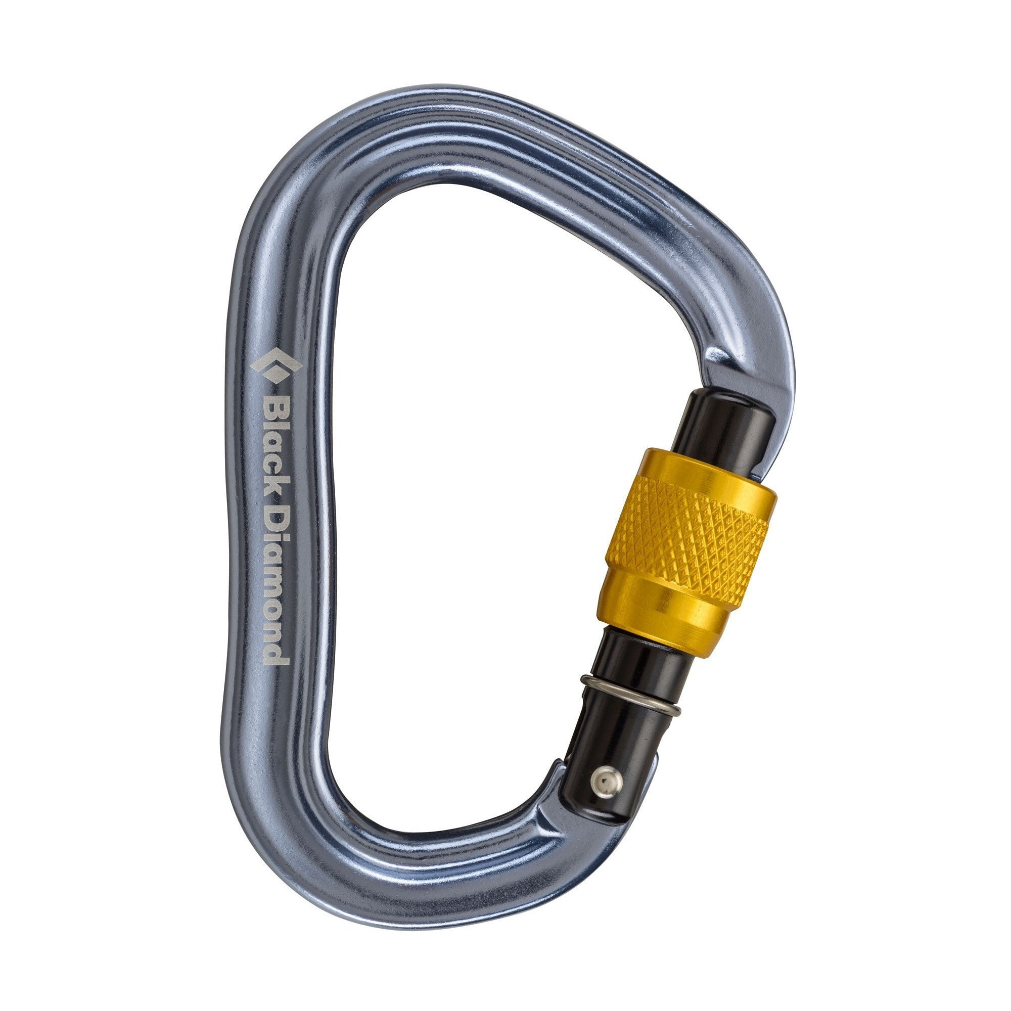 Black Diamond VaporLock Screwgate HMS carabiner, in silver colour with gold screw