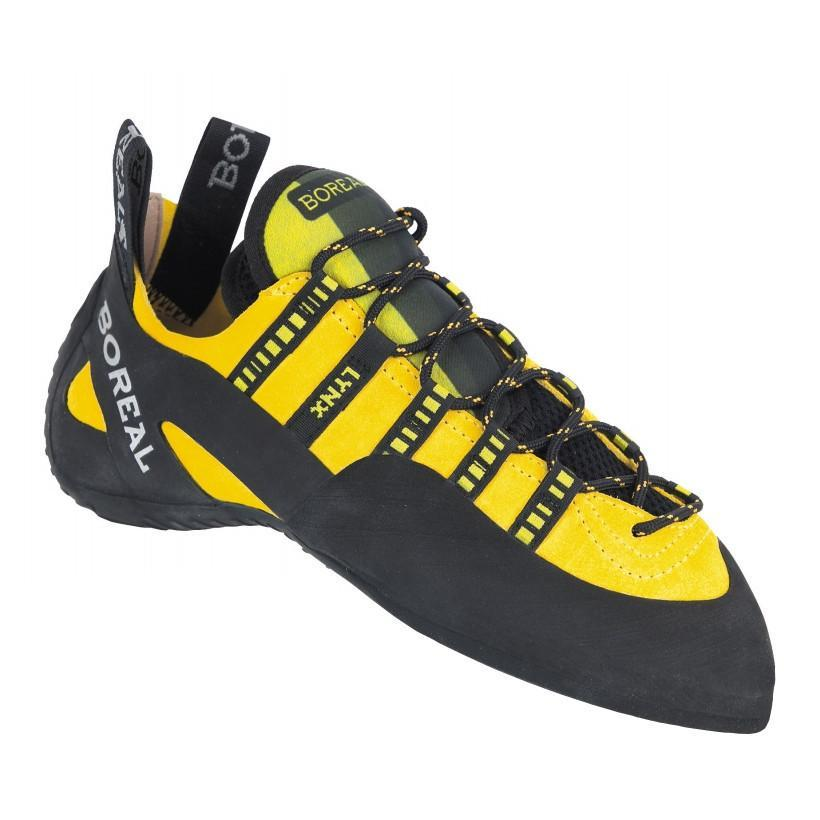 Boreal Lynx laced climbing shoe, in black and yellow colours