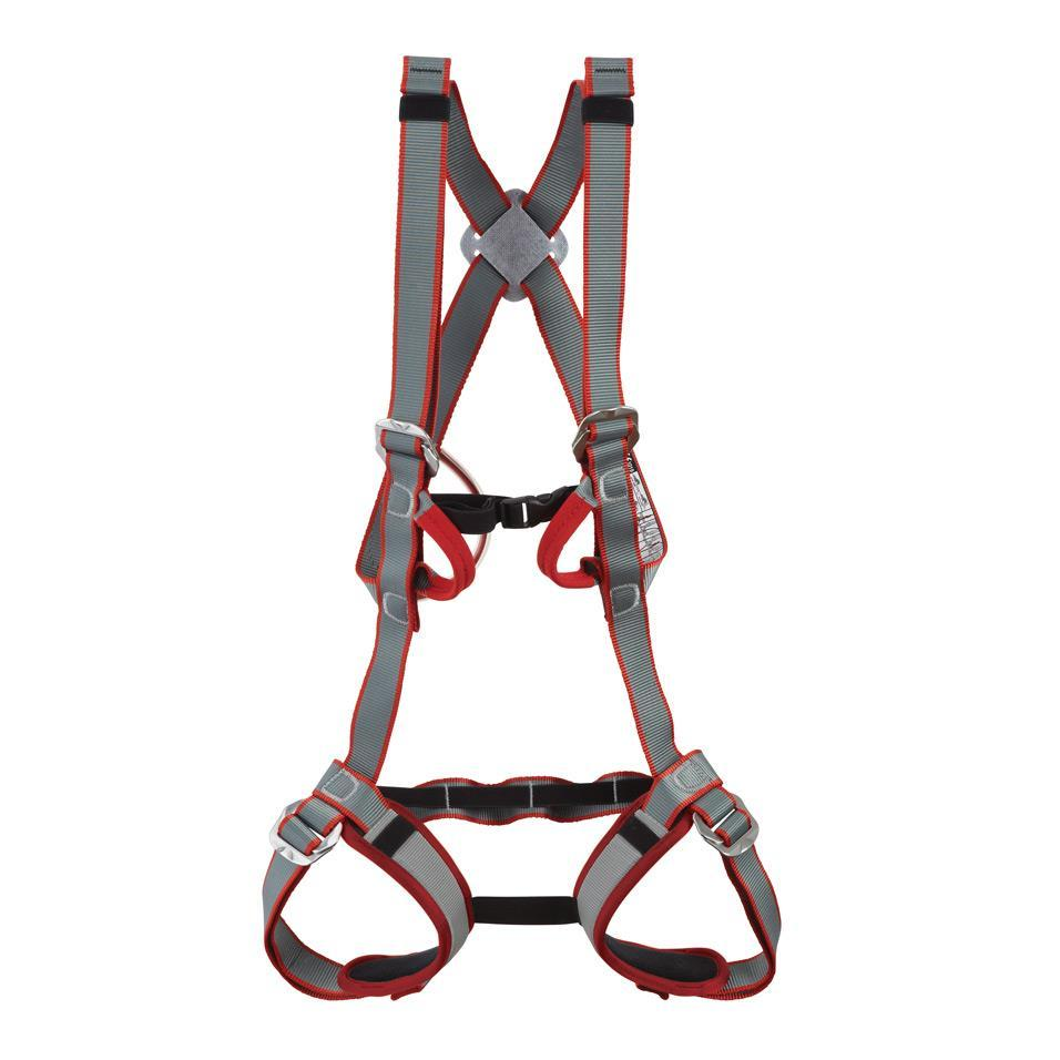 DMM Tom Kitten Kids Full Body Harness, front view in grey, red and black colours