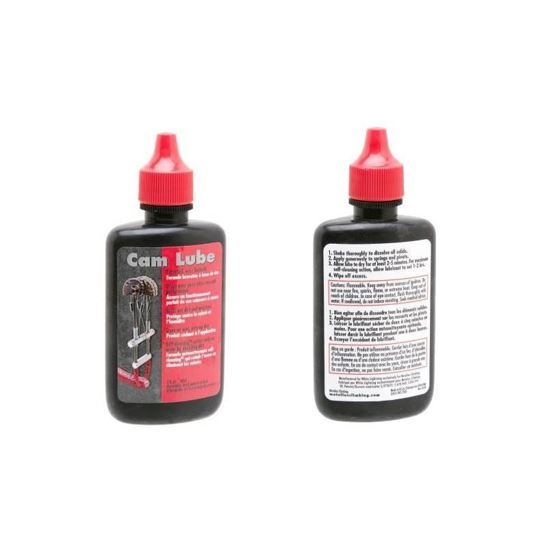 Metolius rock climbing Cam Lube, front of bottle and reverse of bottle shown side by side