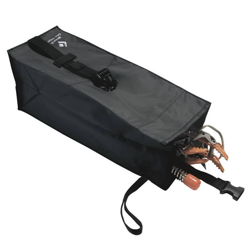 Black Diamond Toolbox crampon bag, in black colour and showing tools inside