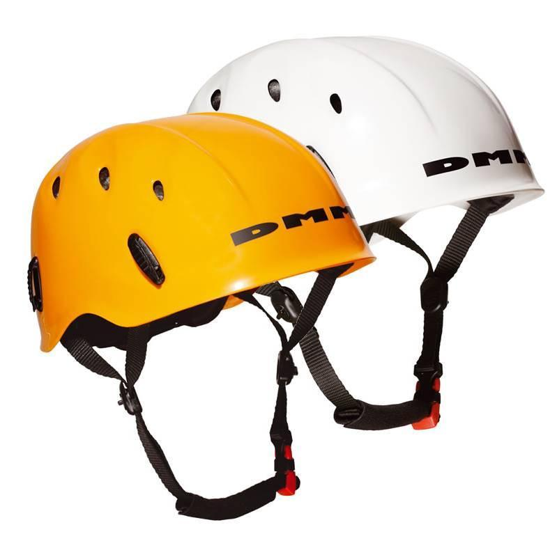 two DMM Ascent climbing helmets side by side, in orange and white colours