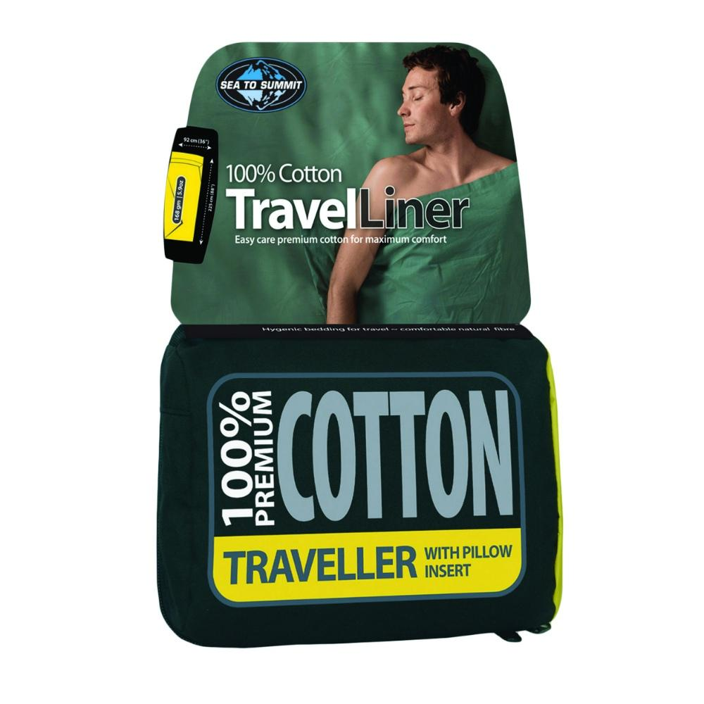 Sea to Summit Cotton Liner Traveller, shown in stuff sack and packaging