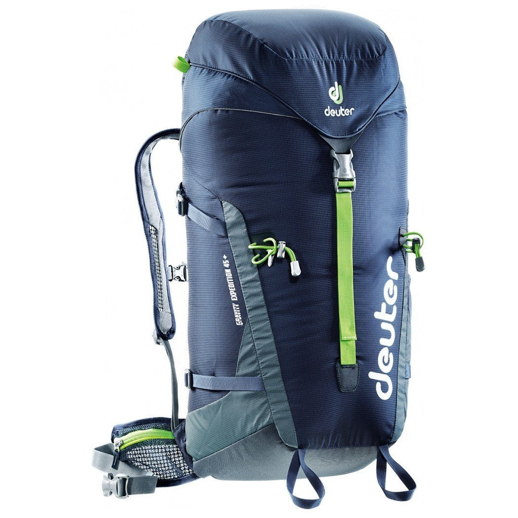 Deuter Gravity Expedition 45 rucksack, in black, grey and green colours
