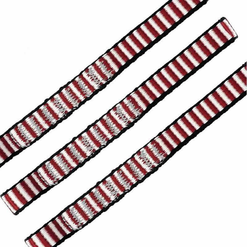 DMM Dyneema climbing Sling 11mm x 25cm 3 Pack, shown side by side in red/white colours