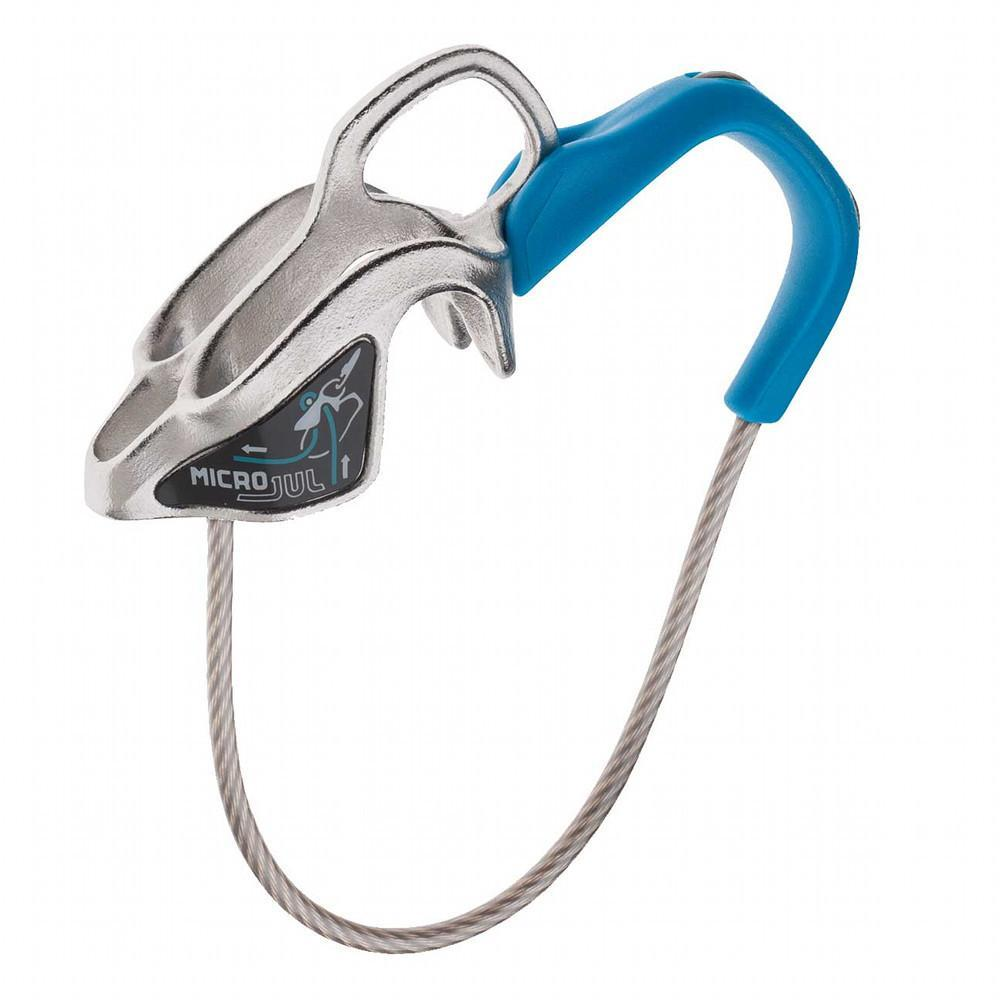 Edelrid Micro Jul belay device, shown side on in blue and silver colours