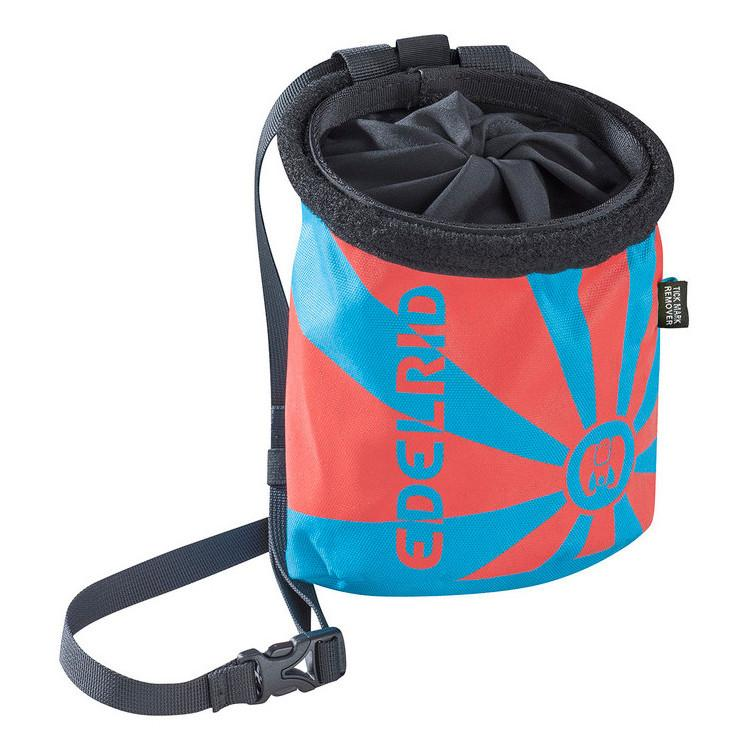 Edelrid Rocket Chalk bag in icemint colour as seen from the front demonstrating Edelrid logo